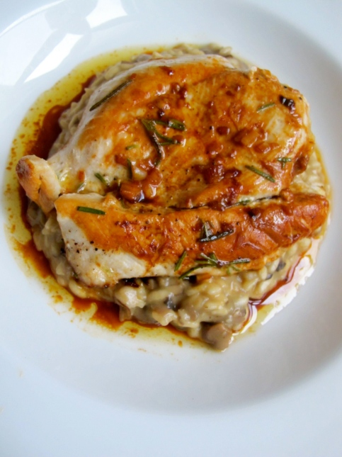 Mushroom Risotto and Chicken, Photo Credit: Pippa Biddle