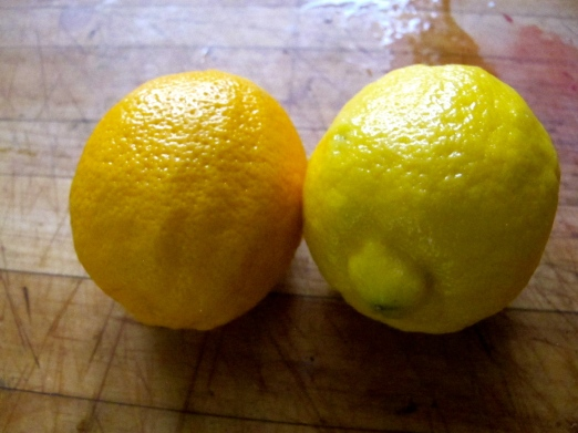 Meyer Lemon vs. Regular Lemon (L to R)