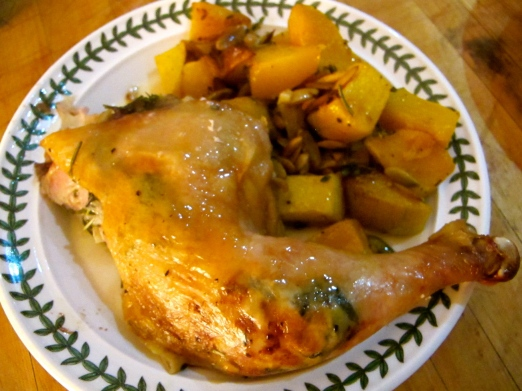 Chicken leg with a side of roasted butternut squash with pumpkin seeds - look out for that recipe next week!