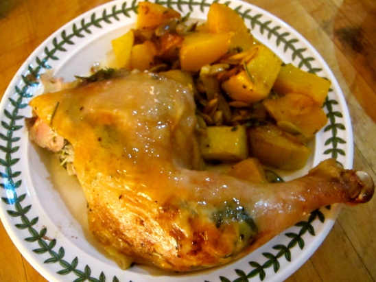 Roasted butternut squash with pumpkin seeds is a side for roast chicken (https://pippacooks.com/2013/10/11/spatchcock-roast-chicken/)