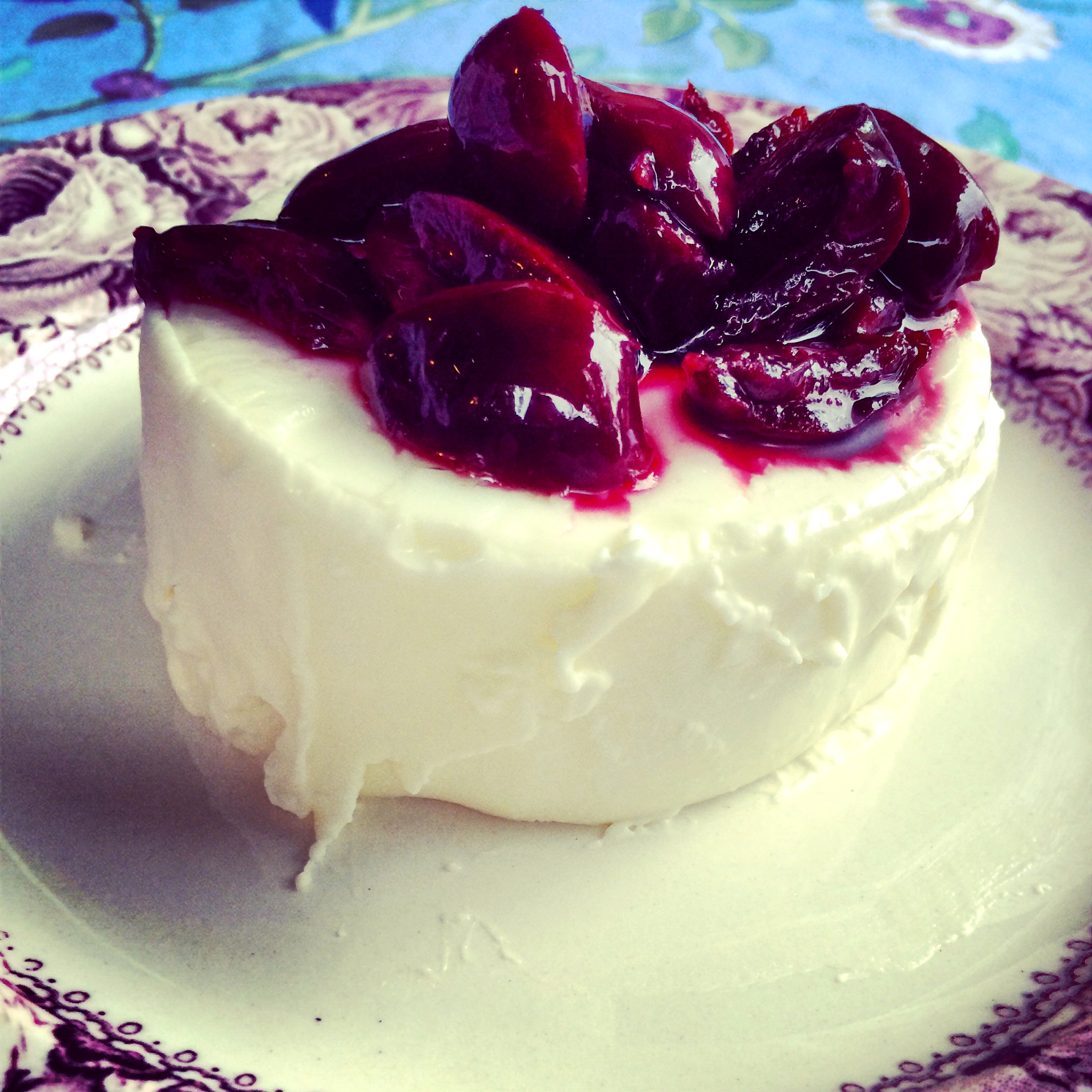Buttermilk Panna Cotta with Roasted Cherries