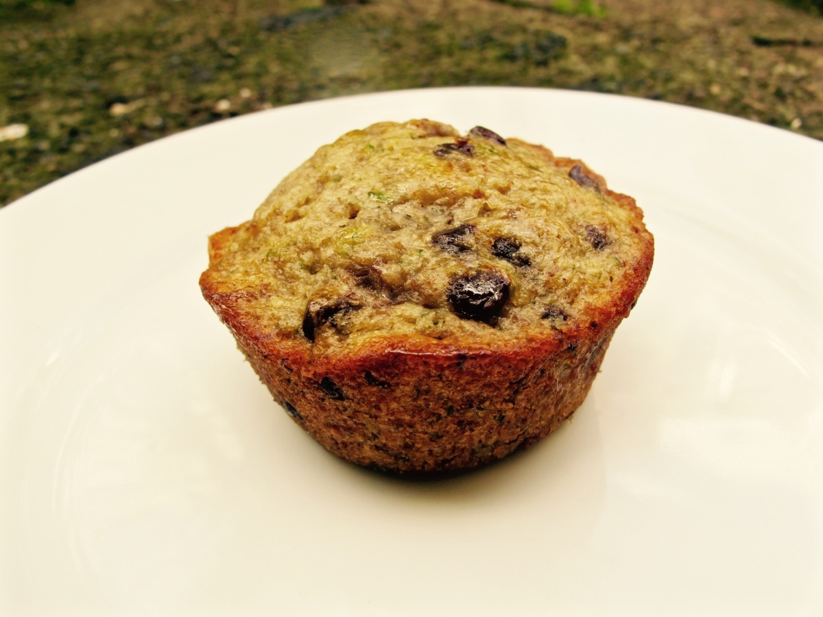 Vegan Banana Zucchini Chocolate Chip Muffins